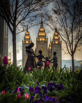 Salt Lake Temple Wall Art - Photograph - Family by Nick  Cardona