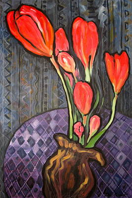 Contemplative Painting - Family Of Crocuses by Elena Danilescu Russ