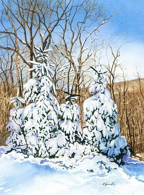 Snowy Trees Painting - Family Of Four Trailside At 7 Springs by Barbara Jewell