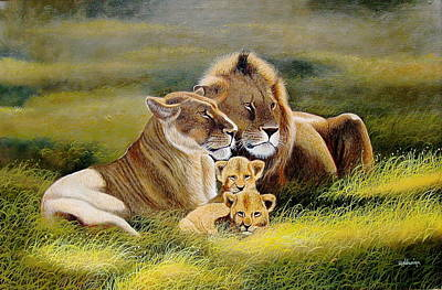 Painting - Family Of Lions by Wycliffe Ndwgia