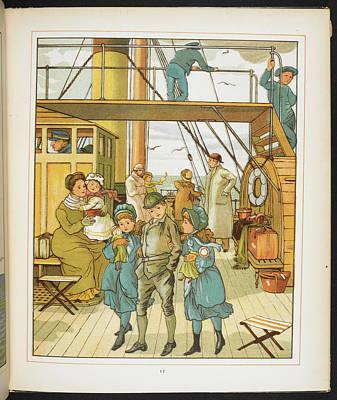 Family On Board A Passenger Ship Art Print