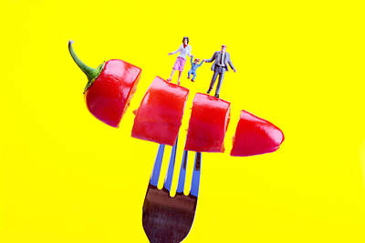 Whimsy Photograph - Family On The Floating Red Pepper Miniature Art by Paul Ge