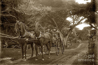 Family Out Carriage Ride On The 17 Mile Drive In Pebble Beach Circa 1895 Art Print by California Views Mr Pat Hathaway Archives