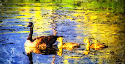 Gosling Painting - Family Outing by Jo-Anne Gazo-McKim