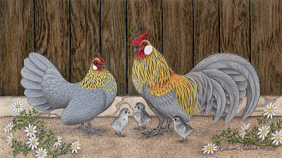 Chicken Drawing - Family Outing by Katherine Plumer