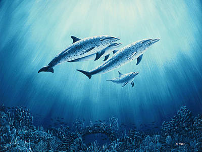 Wyland Painting - Family Outing by Mark Noll