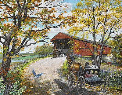 Covered Bridge Painting - Family Outing by Roger Witmer