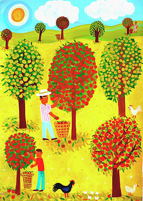 Digital Art - Family Picking Apples In Orchard by Christopher Corr