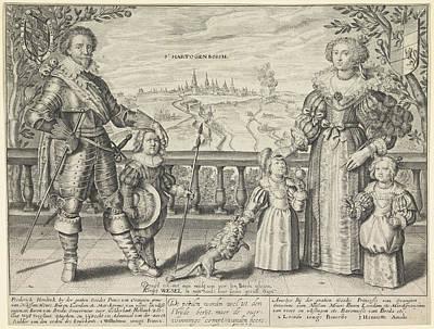 Family Portrait Of Frederik Hendrik, Amalia Art Print by Crispijn Van De Passe (ii)