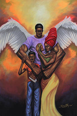 Baby Angel Drawing - Family Protector by The Art of DionJa'Y