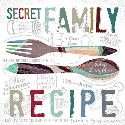 Utensil Painting - Family Recipe by Longfellow Designs