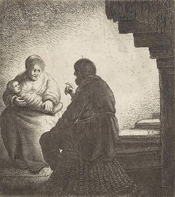 Family Sitting At A Spiral Staircase Print by Jan Gillisz. Van Vliet