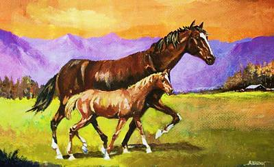 Art Print featuring the painting Family Stroll by Al Brown