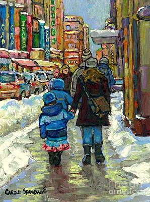 Family Stroll Beautiful Winter Day Downtown Canadian Snowscene Paintings Best Montreal Art For Sale Art Print by Carole Spandau