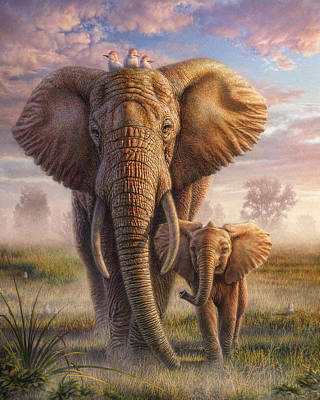 Wildlife Mixed Media - Family Stroll by Phil Jaeger