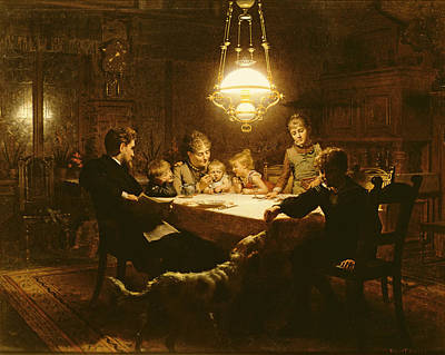 Family Supper In The Lamp Light, 19th Century Art Print