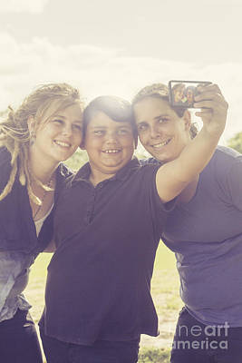 Family Taking Summer Selfies Print by Jorgo Photography - Wall Art Gallery