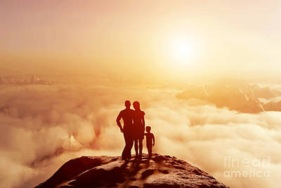 Cloudscape Photograph - Family Together On Mountain Looking On Sunset by Michal Bednarek