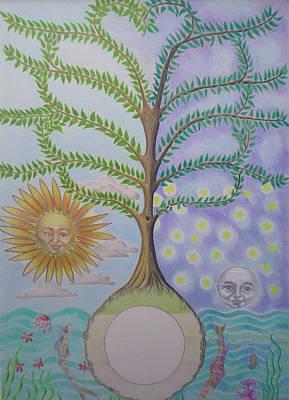 Family Tree Chart Sun Moon And Stars Art Print by Alix Mordant