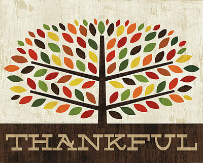 Thanksgiving Wall Art - Painting - Family Tree - Thankful by Michael Mullan