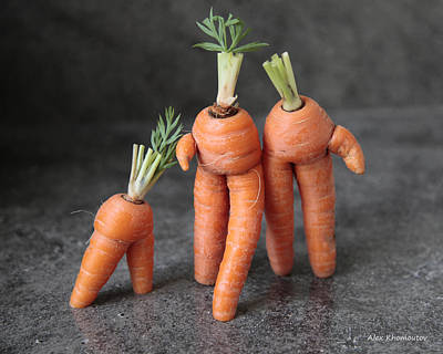 Good Luck Mixed Media - Family Walk - Funny Art - Comic Carrots - Good Luck Energy Print by Alex Khomoutov
