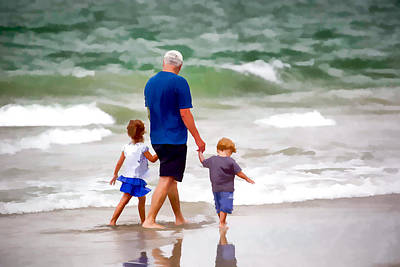 Grandkids Photograph - Family Walking In The Surf by Tim Dahl