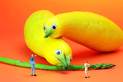 Asparagus Digital Art - Family Watching Animals In Zoo by Paul Ge