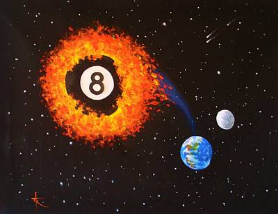 Painting - Faming Balls #2... 8 Ball by Thomas Kolendra