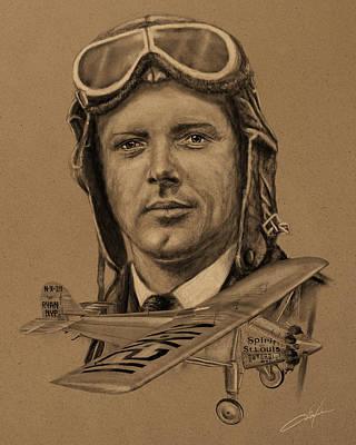 St. Charles Digital Art - Famous Aviators Charles Lindbergh by Dale Jackson