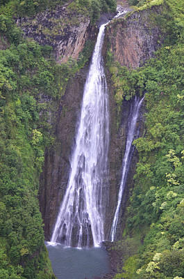 Rare Moments Photograph - Famous Jurassic Park Waterfall Aerial by Kai Hyde