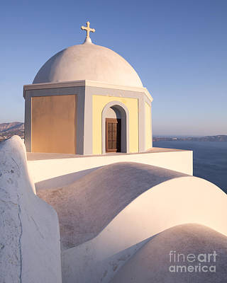 Famous Orthodox Church In Santorini Greece Print by Matteo Colombo