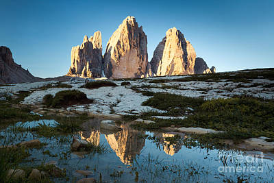 Famous Three Peaks At Sunrise Dolomites Italy Print by Matteo Colombo