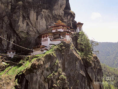 Bhutan Painting - Famous Tigers Nest Monastery Of Bhutan 12 by Lanjee Chee