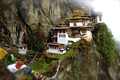 Tibetan Buddhism Painting - Famous Tigers Nest Monastery Of Bhutan 2 by Lanjee Chee