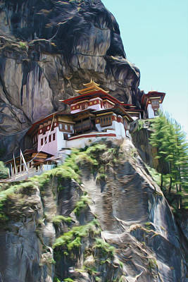 Himalaya Painting - Famous Tigers Nest Monastery Of Bhutan 7 by Lanjee Chee