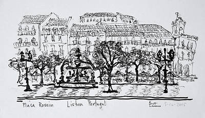 Pen And Ink Drawing Photograph - Famous Town Square Placa Rossio by Richard Lawrence