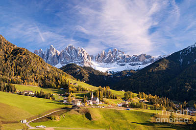 Maddalena Photograph - Famous View St Magdalena With Odle Mountains In The Dolomites Italy by Matteo Colombo