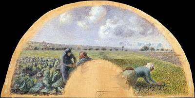 Fan Mount The Cabbage Gatherers Art Print by Camille Pissarro