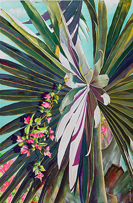 Pink Flower Branch Painting - Fan Palm And Bougainvillea by Janis Grau