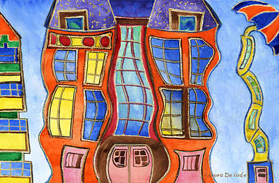 Art Print featuring the painting Fanciful Wavy House Painting by Lenora  De Lude