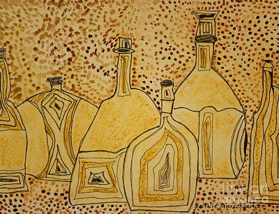 Beige Glass Mixed Media - Fancy Bottles by Patricia Januszkiewicz