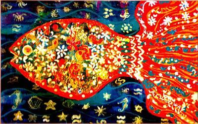 Fancy Happy  Gaga Fish Art Print by Anne-Elizabeth Whiteway