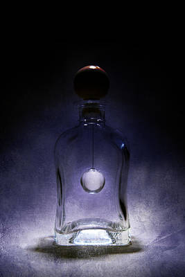Shiny Thread Photograph - Fancy Shaped Glass Bottle With Crystal Ball Inside by Jaroslaw Blaminsky