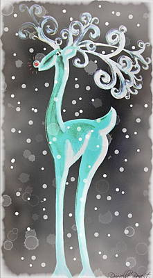 Snowy Night Painting - Fancy Vintage Red Nose Reindeer With Snow Flakes Falling At Night by Danielle  Parent