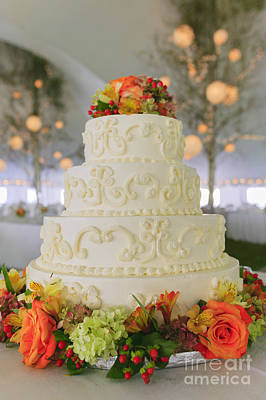 Photograph - Fancy Wedding Cake Inside A Large Event Tent. by Don Landwehrle