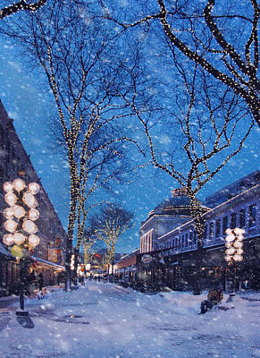 Photograph - Faneuil Hall Winter Snow - Boston by Joann Vitali