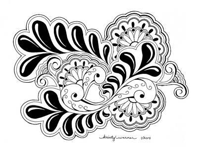 Zentangles Drawing - Fanfare by Kristy Werner