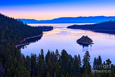 Emerald Bay Photograph - Fannette Island Sunrise by Jamie Pham