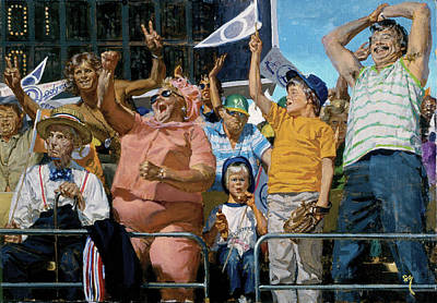 Fans Up A Section Of Elated Fans Art Print by Stanley Meltzoff / Silverfish Press