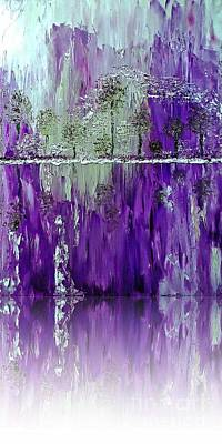 Painting - Fantacy Forest Reflected In Purple by Saundra Myles